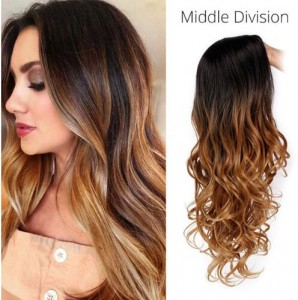 Ombre Brown Synthetic Hair Wigs Middle Division Long Wave Wig Glueless Heat Resistant None Lace Wig