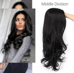 Black Synthetic Hair Wigs Middle Division Long Wave Wig Glueless Heat Resistant None Lace Wig