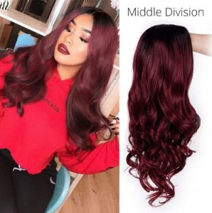 Ombre Bug Synthetic Hair Wigs Middle Division Long Wave Wig Glueless Heat Resistant None Lace Wig