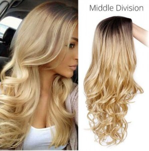 Ombre Blond Synthetic Hair Wigs Middle Division Long Wave Wig Glueless Heat Resistant None Lace Wig