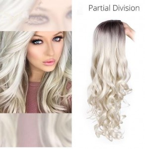 Ombre Silver Synthetic Hair Wigs Partial Division Long Wave Wig Glueless Heat Resistant None Lace Wig