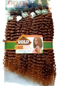 Noble Gold Super Faye Synthetic Hair Weave Color AMBER- All You Need Is One Pack