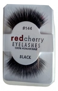 Red Cherry Eyelashes Black 100% Human Hair #144
