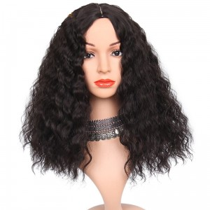 Long Black Synthetic  Kinky Curly Heat Resistant Wig