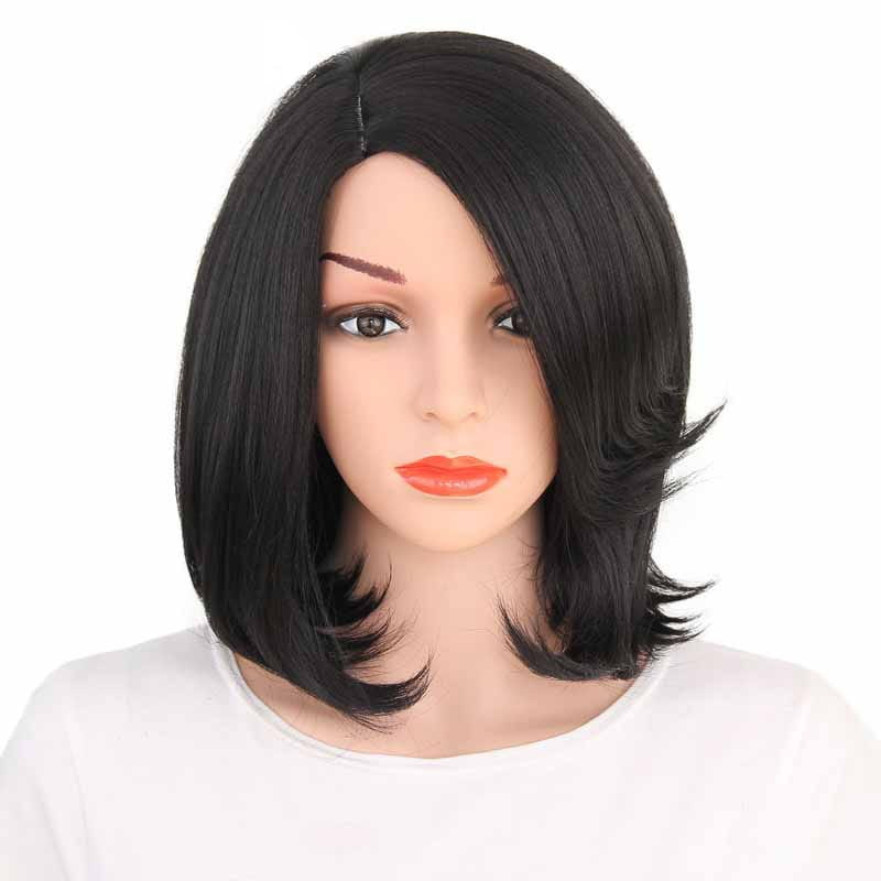 Short Bob With Bangs Black Synthetic Wig